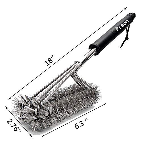 BBQ Grill Brush,Preon 18 Inches 3 in 1 Stainless Steel Best Barbecue Grill Cleaning Brush,Durable and Effective - 100% Rust Proof with Wire Bristles & Long Handle & Strength Clip