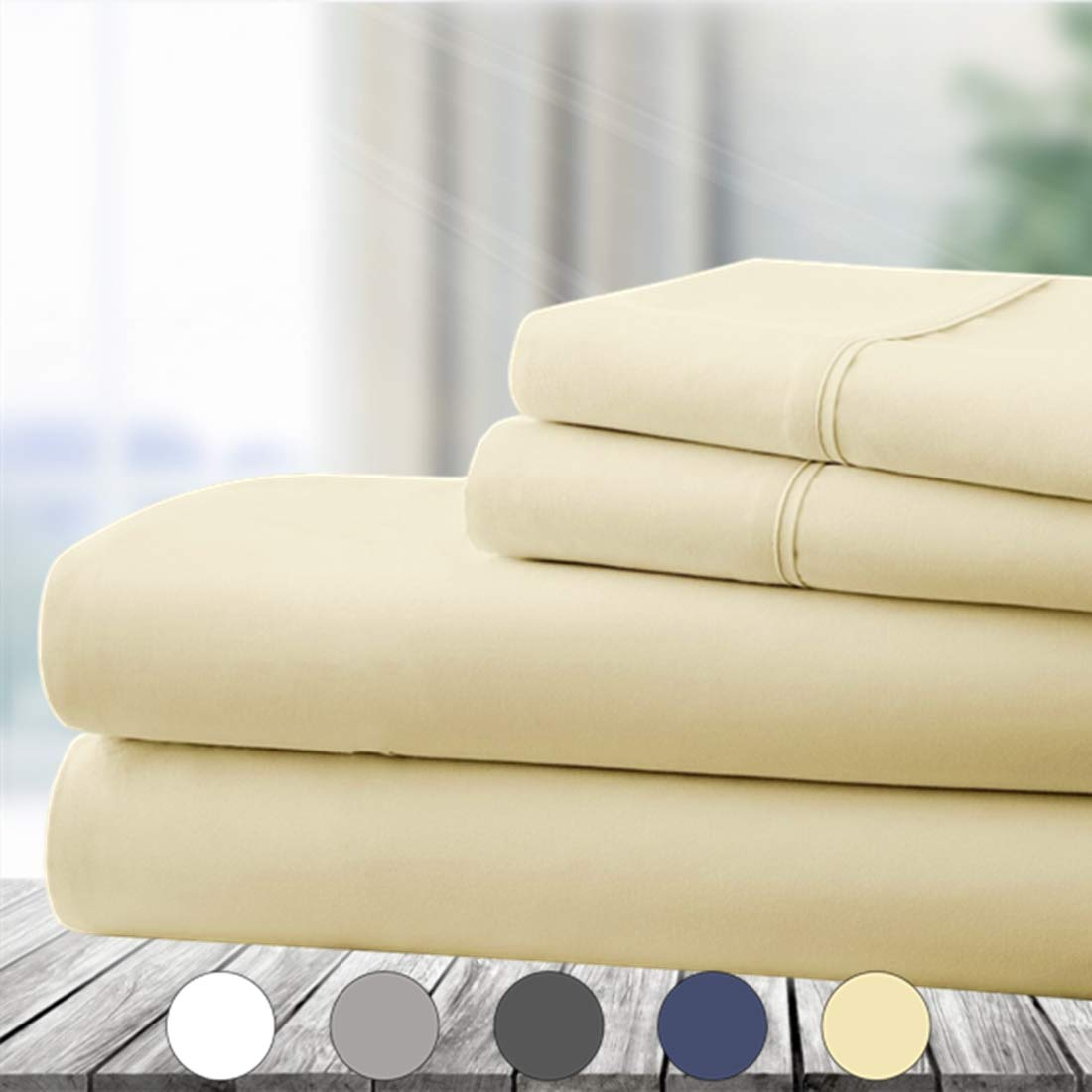 Abakan Bed Sheet Set 4 Piece Super Soft Brushed Microfiber 1800 Series Hotel Luxury Egyptian Sheet Breathable, Wrinkle, Fade Resistant Deep Pocket Bedding Sheet Set (Cal King, Ivory)