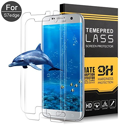 Samsung Galaxy S7 Edge Screen Protector,Liwin Tempered Glass,9H Hardness,Bubble (2 Packs)