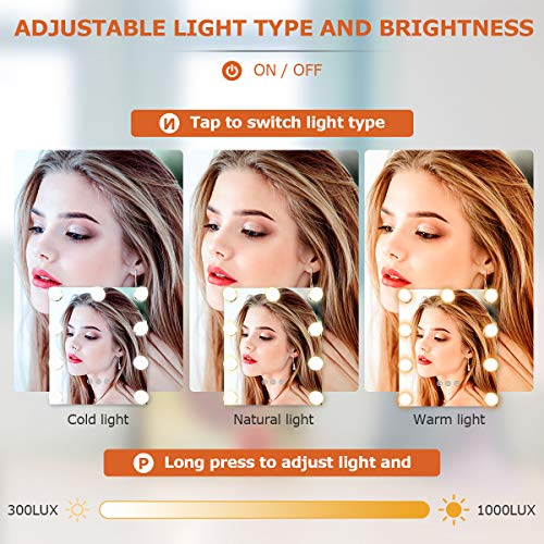 Vanity Mirror with Lights, Baban Hollywood Makeup Mirror with Dimmable LED with Lights 3 Colors Light Detachable 10X Magnification Touch Control 360°Rotation for Dressing Room, Bedroom Makeup, White…
