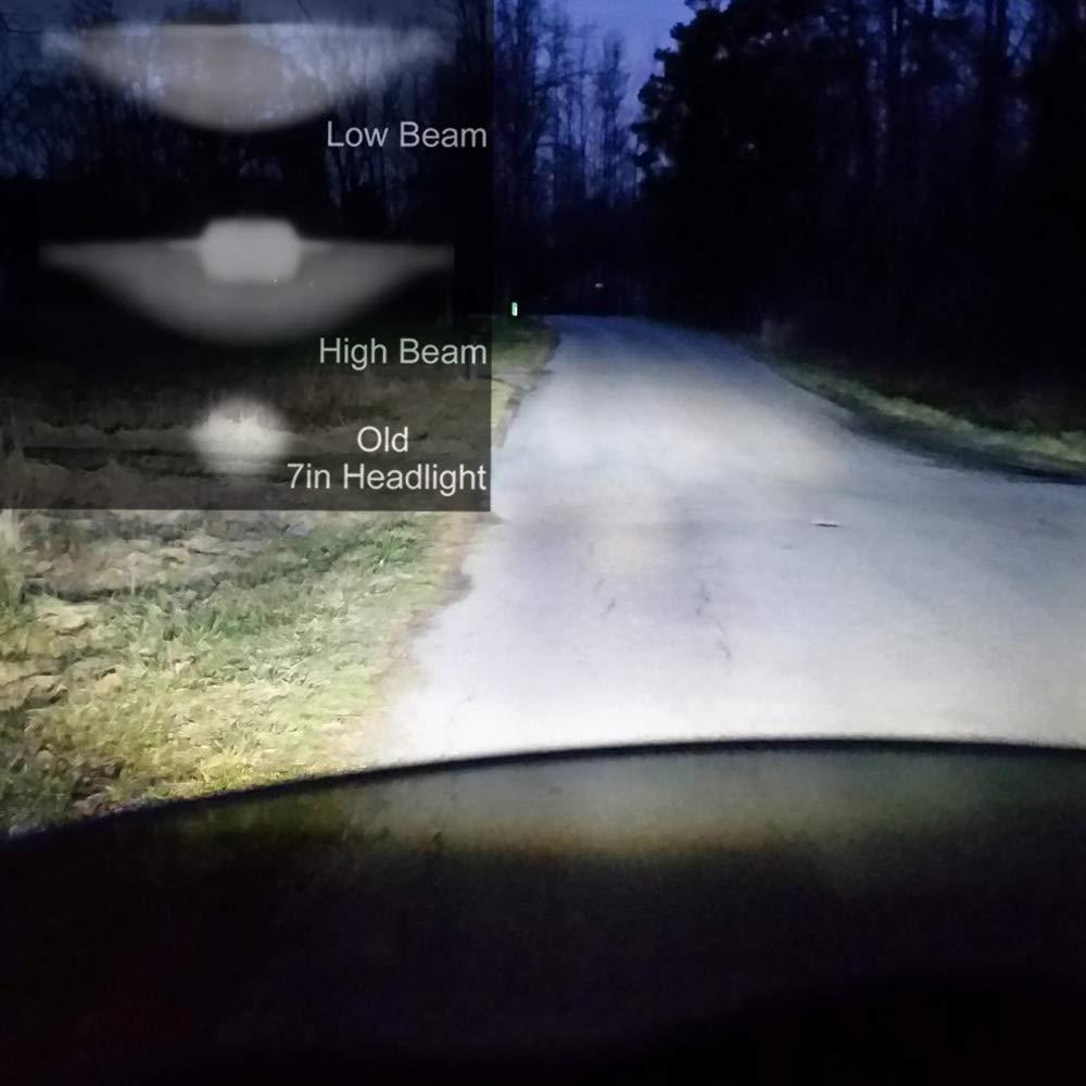Pair AMUNIESUN DOT Approved 7Inch Round Black LED Halo Headlight With High Low Beam White DRL Amber Turn Signal for Jeep Wrangler JK TJ LJ CJ Mazda Miata Hummer H1/&H2