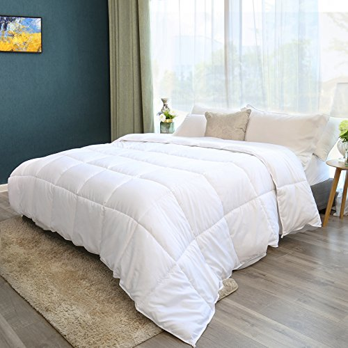 SONGMICS All-Season Duvet Insert - Hypoallergenic & Breathable 350 GSM Goose Down Alternative Comforter, Reversible - Machine Washable - Queen (88