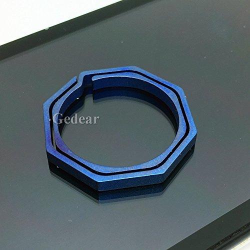 - TIKING 1pc Titanium TC4 Ti KeyChain Octagon Key Ring CNC Size L 30mm 2.7g Andoized Blue