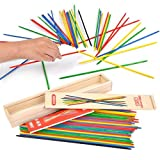 classic game,Classic Wooden Thin Pick Up Stick Game 41 Pieces Fun Family Game Gift Idea --9.8 Inch Long  (I Pack)