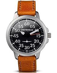 Chotovelli Aviator Mens Watch Analog display Vintage Brown Leather Strap 33.01