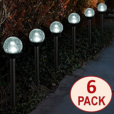 SET OF 6 Crackle Glass Globe White LED Black Solar Path Lights by SOLAscape