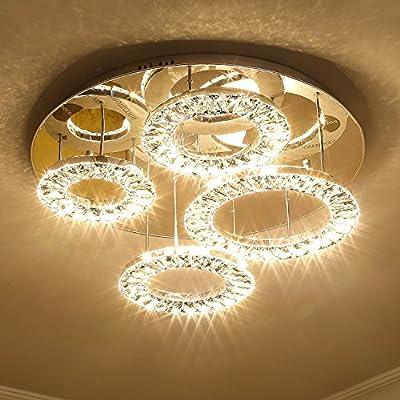Saint Mossi Modern K9 Crystal LED 4 Ring Chandelier Lighting Flush Mount LED Ceiling Light Fixture Lamp Dining Room Bathroom Bedroom Livingroom Height 8 x Width 24