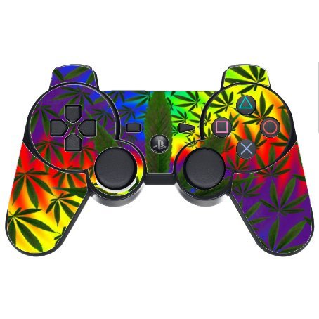 Weed marijuana psychedelic Pattern PS3 Dual Shock wireless controller Vinyl Decal Sticker Skin by Debbie's Designs