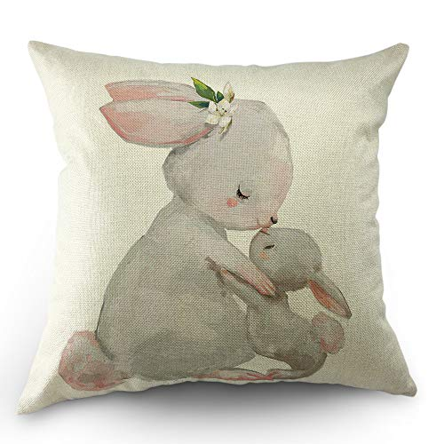 Moslion Rabbit Pillow Cover Cute Animal Hare Mom with Little Easter Bunny with Flower Leaves Throw Pillow Case 18x18 Inch Cotton Linen Square Cushion Decorative Cover for Sofa Bed Grey -