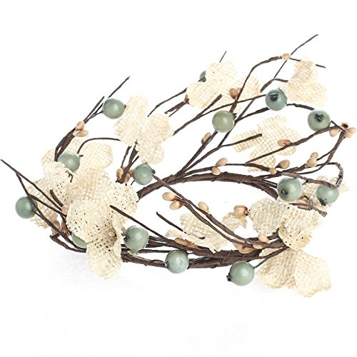 - Pair of Ocean Green and Cream Mixed Berry Candle Rings with Natural Burlap Flowers