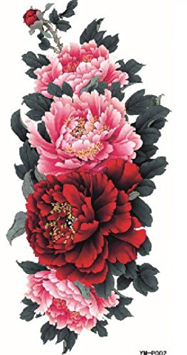 GGSELL Latest hot selling and fashionable design Beautiful and colorful Pink and red peony flowers fake temp tatoo sticker