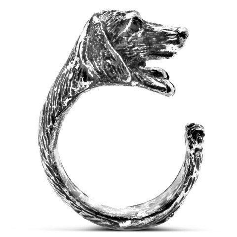 Teckel Chien Bague en Teinte Argent Taille Ajustable by Serebra Jewelry