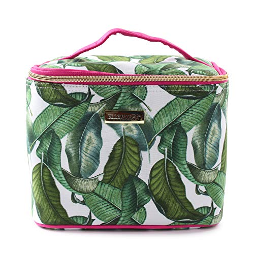 Ellen Tracy Reusable Insulated Soft Rectangle Lunch Box/Tote with Zipper for Woman and Teens (Leaf Print with Hot Pink Handles) ()