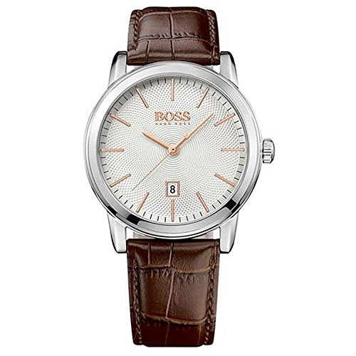 Hugo Boss Classic 1 Silver Dial Brown Leather Strap Quartz Men's Watch 1513399