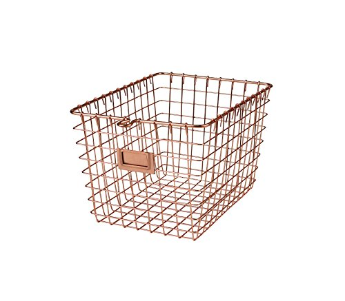 Spectrum Diversified Wire Storage Basket, Small, Copper - Perfect storage solution for any room in the home Open design lets you easily view everything in the basket The convenient label holding plate lets you easily label the basket's content - living-room-decor, living-room, baskets-storage - 51gu0af65LL -