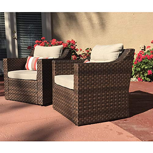 Sofa Club Chair - SUNSITT Patio Outdoor Furniture 2-Piece Brown Wicker Single Club Chairs w/Beige Olefin Cushions & Striped Throw Pillow