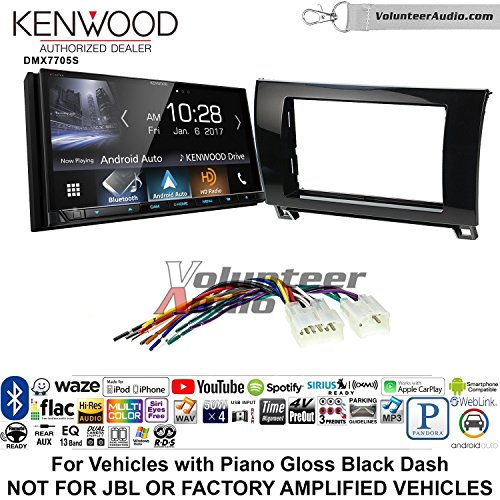Volunteer Audio Kenwood DMX7705S Double Din Radio Install Kit with Apple CarPlay Android Auto Bluetooth Fits 2007-2017 Non Amplified Toyota Tundra (Piano Gloss Black) For Sale