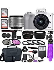 $779 » Canon EOS M50 Mark II Mirrorless Digital Camera (White) Premium Accessory Bundle with EF-M 15-45mm is STM Lens (Graphite) + Gadget Case + 64GB Memory + HD Filters + Auxiliary Lenses