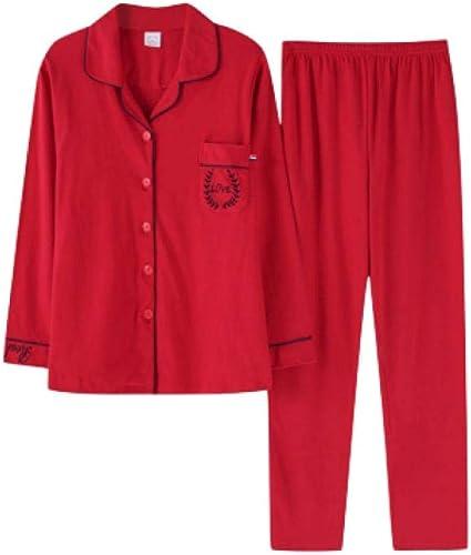 Pijamas para Mujer, Conjunto De Pijama De Mujer Pjs Cárdigan De Manga Larga Algodón Primavera Y Otoño Pantalones Suaves Felices Rojo 2XL: Amazon.es: Ropa y accesorios
