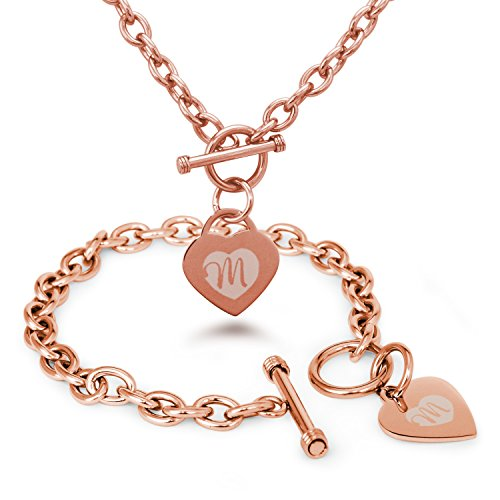 Rose Gold Plated Stainless Steel Alphabet Letter M Initial Engraved Heart Charm, Bracelet and Necklace Set ()