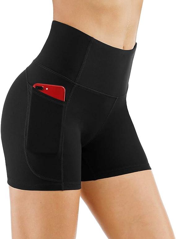 SHINEHUA High Waist Out Pocket Yoga Short Tummy Control Workout Running Athletic Non See-Through Yoga Shorts