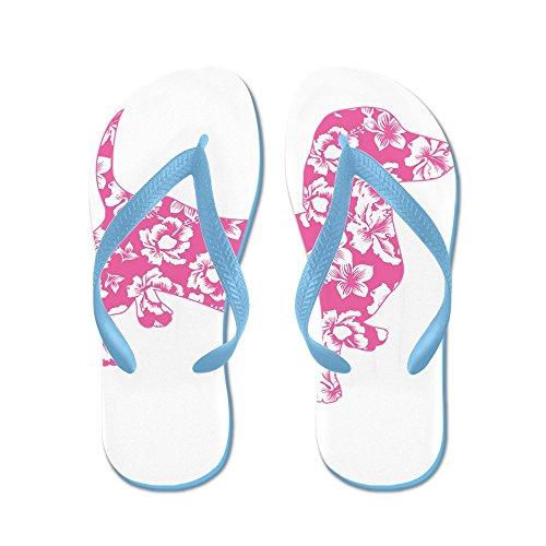 CafePress Hawaiian Pink Doxie Dachshund - Flip Flops, Funny Thong Sandals, Beach Sandals Caribbean Blue