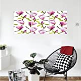 Liguo88 Custom canvas Purple Decor Collection Blooming Magnolias Summer Season Soft Pastel Color Country Flowers Home Decorations Bedroom Living Room Wall Hanging Green Lilac