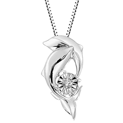 aa467a5b1755e Diamond Dolphin Necklace in Sterling Silver 1/10 cttw