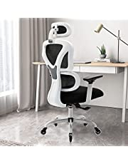 Ergonomic Office Chair - KERDOM Comfortable Computer Chair with Adjustable Headrest and Armrests, High Back Mesh Gaming Chair Executive Swivel Chair