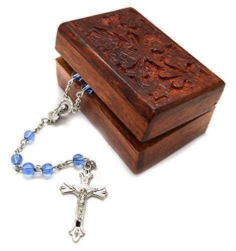 Catholic Blue Glass Prayer Beads Rosary Silver Plated Cross Crucifix Wooden Decorative Box