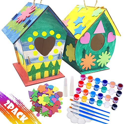 Peesio 2 Pack Bird House Kits for Children to Build and Paint, DIY Wood Bird House to Paint for Kids,24 Paints 4 Brushes and Stickers,Arts and Crafts for Girls Boys Kids Toddlers Ages 3-5, 4-8, 8-12