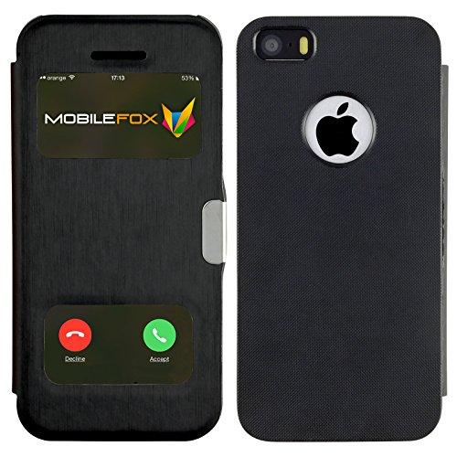 Mobilefox James Schutzhülle Klapptasche Apple iPhone 5/S/SE Schwarz