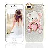 iPhone 8 Plus Case, iPhone 7 Plus Case, Vivafree Girl [Sparkle Series] Elegant Design Silicone Case with Ring Stand - Soft Glitter Bling Shining Fashion Designer Cover Cellphone Case - Teddy Bear