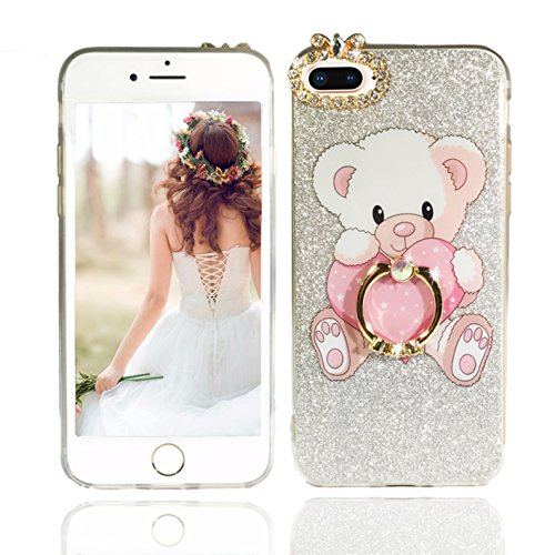 iPhone 8 Plus Case, iPhone 7 Plus Case, Vivafree Girl [Sparkle Series] Elegant Design Silicone Case with Ring Stand - Soft Glitter Bling Shining Fashion Designer Cover Cellphone Case - Teddy (Stand Teddy)