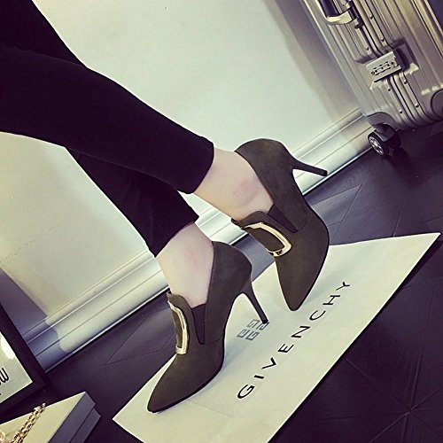 Deep Breathable with Single Deep Suede khaki Heels All 5 Fashion EUR Shoes Ultra Match 35 Fine High Shoes Pointed zSqnpt