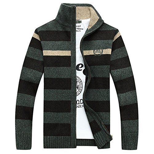DeLamode Men Brand Stripe Stand Collar Sweater Knitwear Embroidery Cardigan  new