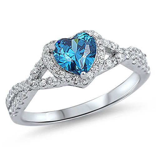 Oxford Diamond Co Sterling Silver Heart Halo Simulated Gemstone Promise Ring Available (11, Blue (Cubic Zirconia))