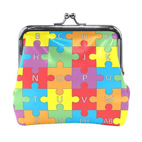 (Women Wallet Purse Letter Word Alphabet Puzzle Clutch Bag Leather)