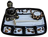Zen Garden Deluxe Desk Meditation Garden with Buddha Statue, Rake, Rocks, Lotus Tea Light Holder (Candle Not Included) - Peace & Tranquility