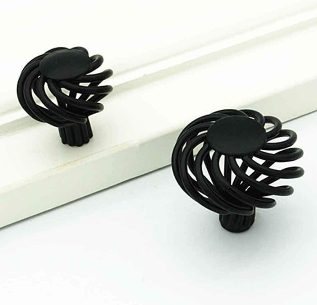Uzinb Birdcage Negro Bronce de la Vendimia Gabinete Armario Armario Ronda manijas del Armario del caj/ón de Puerta de Hierro Tire de Las perillas