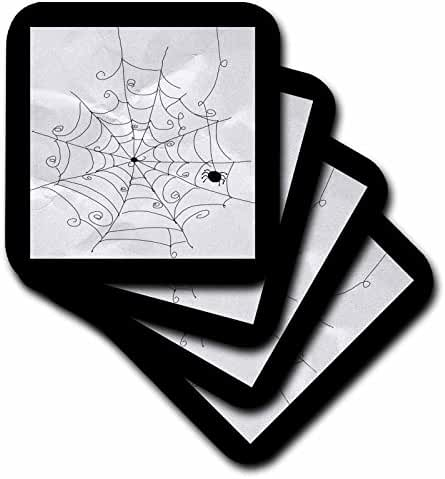 3dRose cst_167443_1 Spider Web with Spider, Black and White, Halloween-Soft Coasters, Set of 4