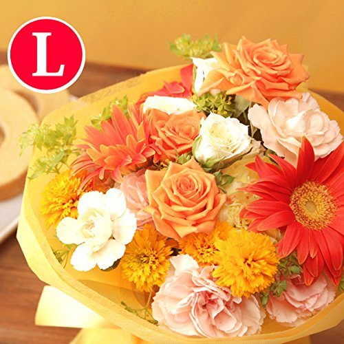 おまかせ花束アレンジメント 花とスイーツセット (Lサイズ:イエローオレンジ系) B01M4ILBA5   Lサイズ:イエローオレンジ系