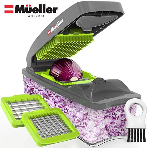 Mueller Onion Chopper Pro Vegetable Chopper - Strongest - NO MORE TEARS 30% Heavier Duty Multi Vegetable-Fruit-Cheese-Onion Chopper-Dicer-Kitchen Cutter (Dog Dumpling)