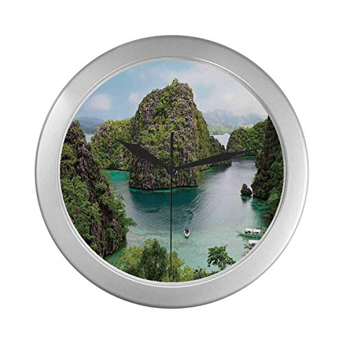 C COABALLA Ocean Island Decor Simple Silver Color Wall Clock,Landscape of Majestic Cliff in Philippines Wild Hot Nature Resort Off Picture for Home Office,9.65