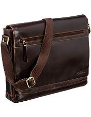 Red Baron Livorno Umhänge-Tasche Herren Tasche Echtes Rinds-Leder Schultertasche Laptoptasche Messenger Bag Collegetasche Uni Studenten Luxus Braun - RB-BG-003-06