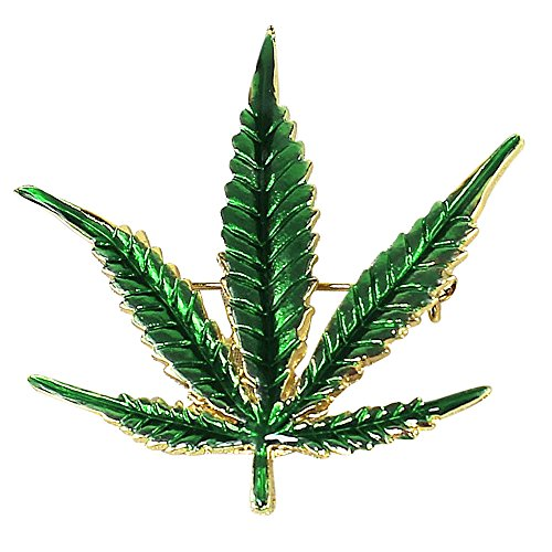 JewelryNanny Cannabis Leaf Pin Marijuana Weed Pot Brooch Pin