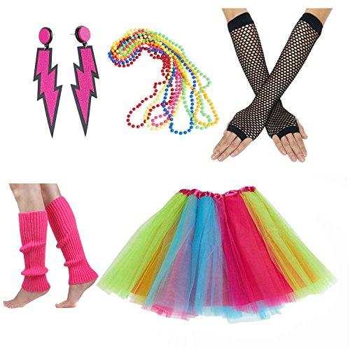 Women's 80s Costume Set Adult Tutu Skirt Fishnet Gloves Neon Leg Warmer Earrings (Set H) -