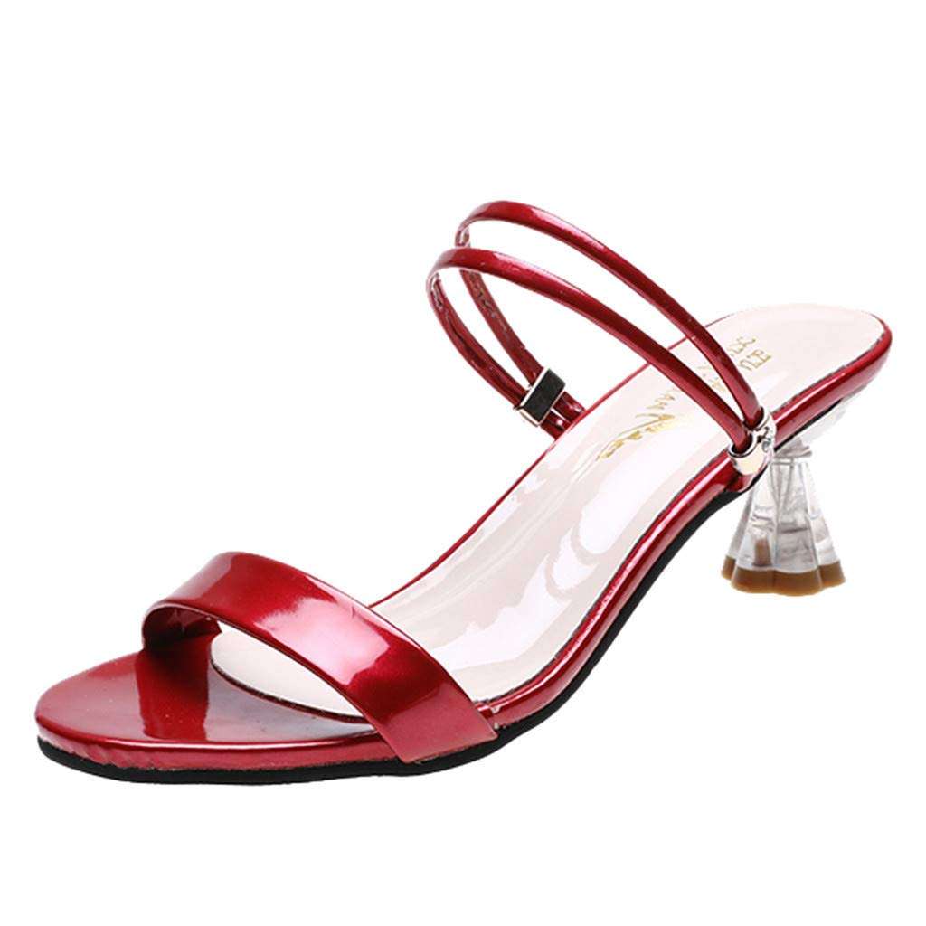 ZOMUSAR New! 2019 Women's Open Toe Sandals Slippers Summer Middle High Heels Chunky Party Shoes Red
