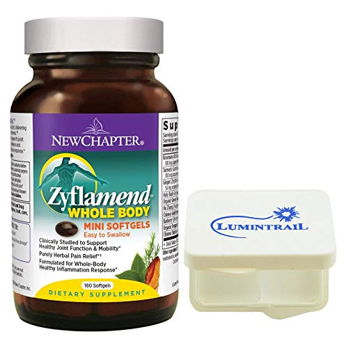 New Chapter Zyflamend Whole Body Supplement for Herbal Pain Relief Inflammation Response - 180 Softgels Bundle with a Lumintrail Pill Case