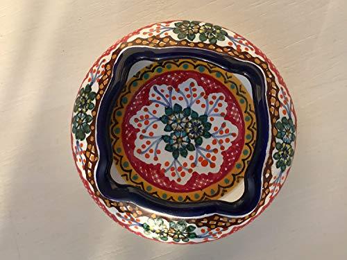 Ashtray Signed - Talavera Ceramic Ashtray 4'' Modern Art Design Authentic Puebla Mexico Pottery Hand Painted Design Vivid Colorful Art Decor Signed [Brown W/Green Center]
